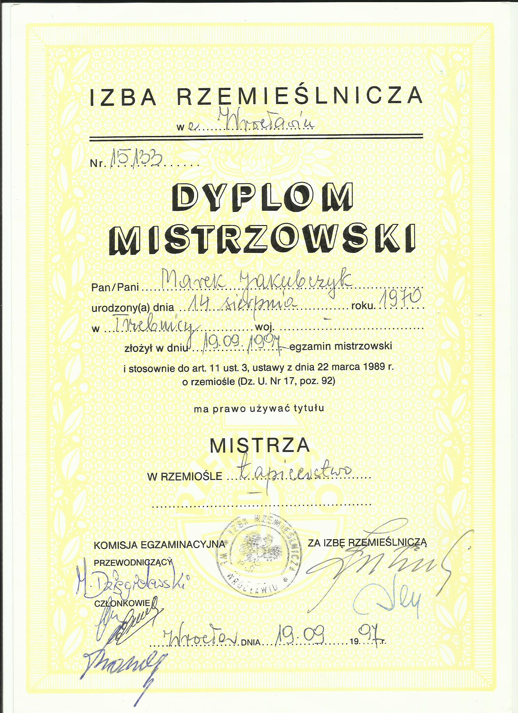 tapicer dyplom